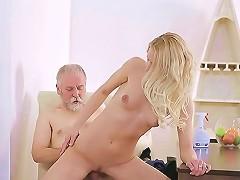 19yo Teen Babe Experiences Old Cock