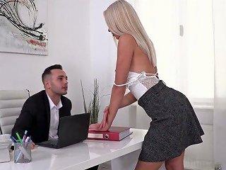 Ukrainian Secretary Angelika Grays Gets Double Penetrated In The Office