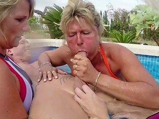 Three German Milfs Help Guy To Cum On Holiday In Fffm