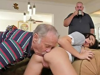 Old Man Gagging Xxx Riding The Old Wood