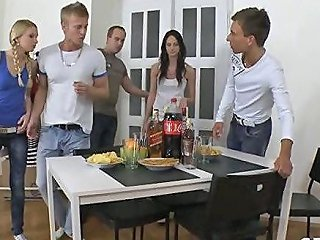 Blonde And Brunette Teens Get Fucked In A Russian Fivesome