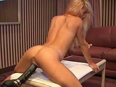 Petite French Blonde Demolished By A Brutal Dildo