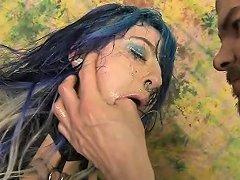Blue Haired Emo Slut Orion Star Getting Her Face Smashed