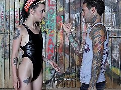 Tattooed Lover Gives His Skinny Babe A Good Pounding On The Floor