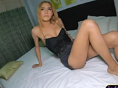 Blonde Asian Shemale Teen Sucking A Big Dick And Anal Sex
