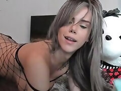 Breathtaking Shemale Teen Strokes Her Dick While Riding A Dildo