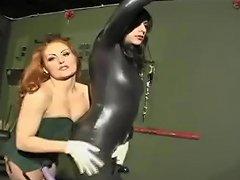 Duel Strapon Latex Femdom Sissy Session