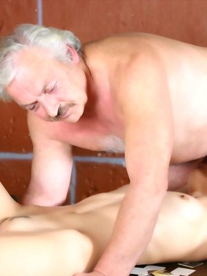 Grey Old Male Loves To Hump A Sweet Brunette