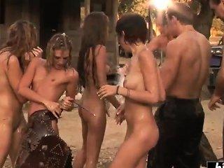 Girls Enjoy An Orgy In The Open Air Drtuber